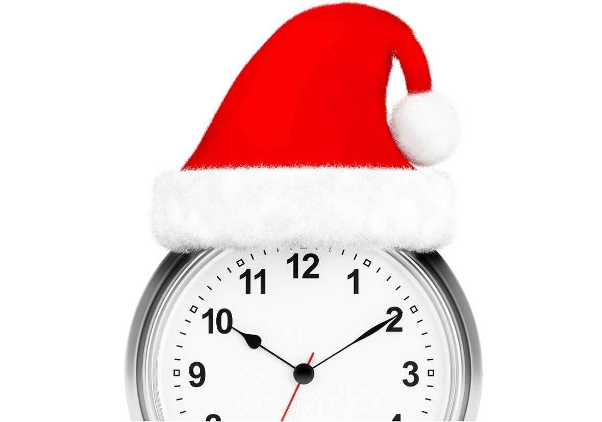 Clock with Christmas Hat